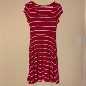 Hot pink and white striped dress
